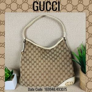 Gucci GG CANVAS LEATHER SHOULDER tote handbag